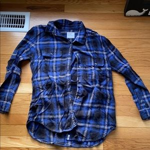 Blue and black plaid flannel.